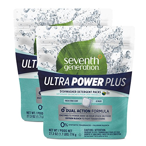 Seventh Generation Ultra Power Plus Dishwasher Detergent Packs, Fresh Citrus Scent, 86 count