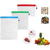 Reusable Mesh Produce Bags Washable Eco Friendly for Grocery Shopping and Storage Fruit Vegetable and Toys Set