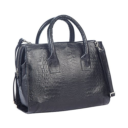 Black Crocodile Pattern (Gaspy Donna Women's Semi-Formal Leather Satchel Handbag - Handmade from 100 Percent Genuine Colombian Leather (Black, Crocodile Pattern))