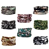 8pcs Multi-function Breathable Seamless Tube Camouflage Camo Half Face Mask Skull Cap Dust-proof Windproof Motorcycle Bicycle Bike Face Mask for Hiking Camping Climbing Fishing Hunting Headband