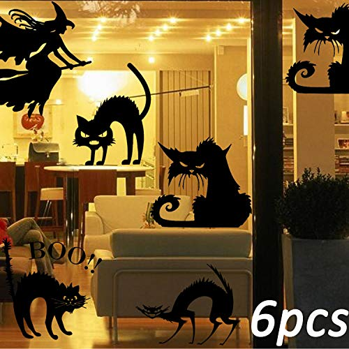 TTSAM 5 Black cat Stickers with 1 Young Witch Sticker, Halloween Theme Party, Home, Cafe, Halloween Theme Hotel, Amusement Park Decoration, Detachable Black cat Witch Decoration Sticker -
