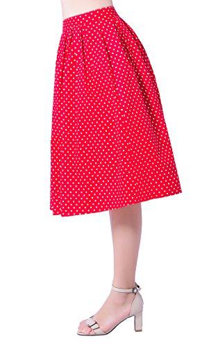 Imprimé Floral Cru Plissée Femmes Lolichy Une Ligne Jupes Longueur Midi Avec Des Poches Rouges Blanc Petit
