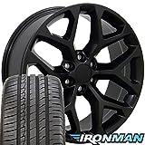 gmc sierra rims and tires - 22x9 Wheels & Tires Fit GM Trucks - GMC Sierra Style Satin Black Rims w/Ironman Tires, Hollander 5668 - SET