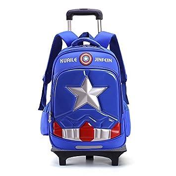 Nueva llegada MinegRong extraíble de dibujos animados Los niños mochilas escolares con 2/6 ruedas mochilas chicos Trolley mochila con ruedas mochilas ...