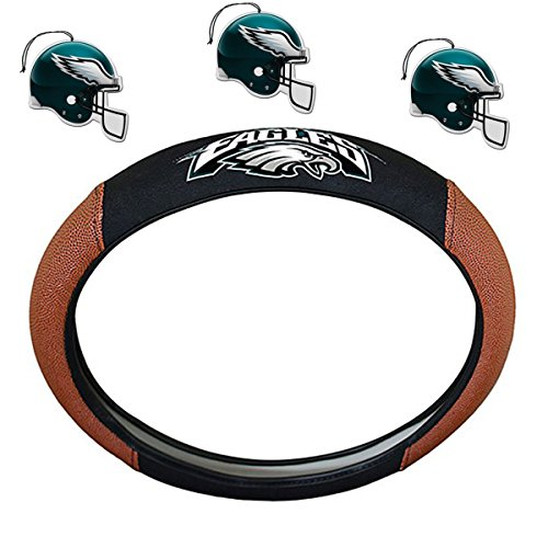 Team ProMark NFL Fan Shop Auto Bundle Premium Pigskin Leather Accented Steering Wheel Cover 3-Pack Air Fresheners (Philadelphia Eagles)