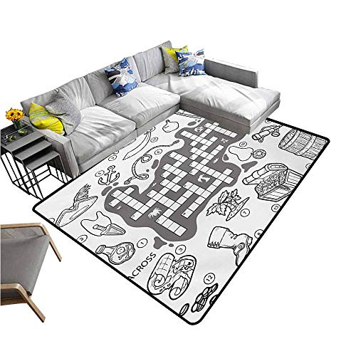 (Vintage Entrance Mat Word Search Puzzle,Colorless Pirates Themed Educational Puzzle Treasure Map and Icons,Grey Black White 80