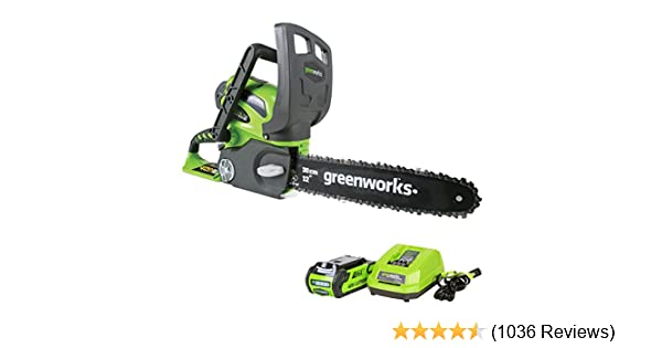 """12/"""" Cordless Chainsaw Includes 2Ah Battery and Charger GreenWorks 20262 40V"""