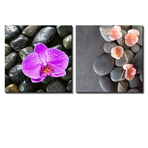 Two Piece Pink Orchid and Coral Flowers Over Rocks on 2 Panels