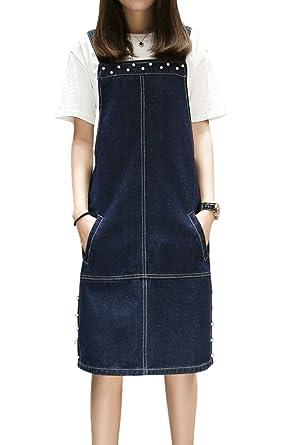 Topjin Womens Plus Size Jeans Overall Dress Denim Suspender Skirts