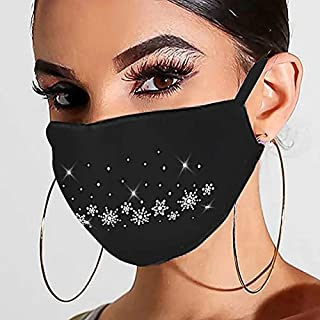 UOFOCO 1PC Christmas Face Balaclavas Cotton Cloth Fabric Women Reusable Breathable Washable Earloop Mouth Cover Protection Covering