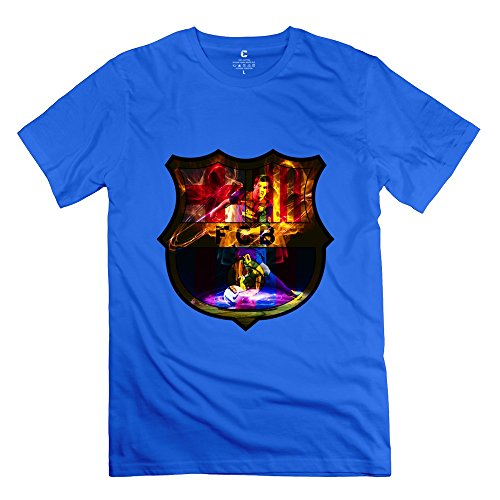 Cool Andres Messi Fcb Logo Men's T Shirt RoyalBlue Size -
