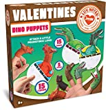 JOYIN 15 Pack Valentines Day Gift Cards with Gift Realistic Dinosaur Figure Finger Puppet Set for Valentine Classroom Exchange Valentine's Prizes Party Favor Toys