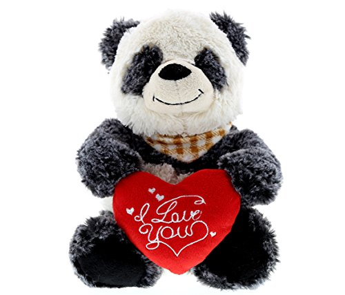 Sitting Panda Bear - DolliBu Sitting Panda Bear I Love You Valentines Stuffed Animal - Heart Message - 7 inch - Super Soft Plush - Item #K5050-5998