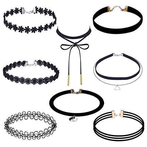 Necklace, Hatop 8 Pieces Choker Necklace Set Stretch Velvet Classic Gothic Tattoo Lace Choker (A)