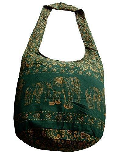 Éléphants Boutique Et Vert Thai Ariyas Sac En Main Coton Avec De Fleurs À XPZUYX