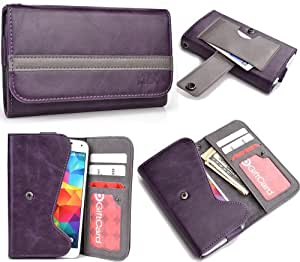 Purple Grey Mens | Womans Wallet Phone Duo Fits Zopo ZP600+ +NuVur KeyChain ESMLGPU1