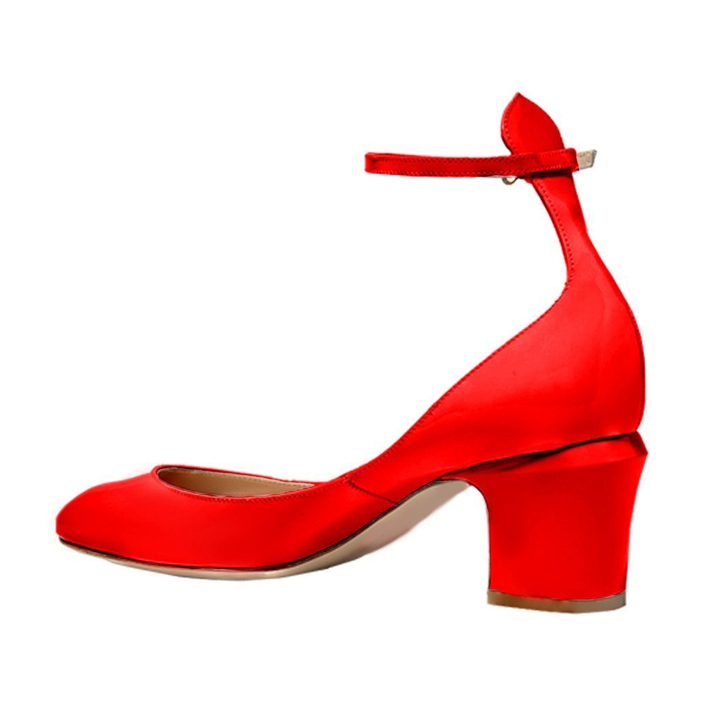 FSJ Women Retro Ankle Strap Mid Heels Dress Pumps Almond Toe Patent Leather Shoes Size 8.5 Red Patent by FSJ (Image #3)