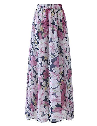 DRESSTELLS Women's Long Floral Print Maxi Chiffon Polka Dots Long Vintage Skirts Floral Rose S by DRESSTELLS
