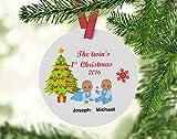 Fhdang Decor Twin's First Christmas Ornament, Personalized Twins Ornament, Ornament for Twins, First Christmas Ornament, Baby's First Christmas, 3 Inches