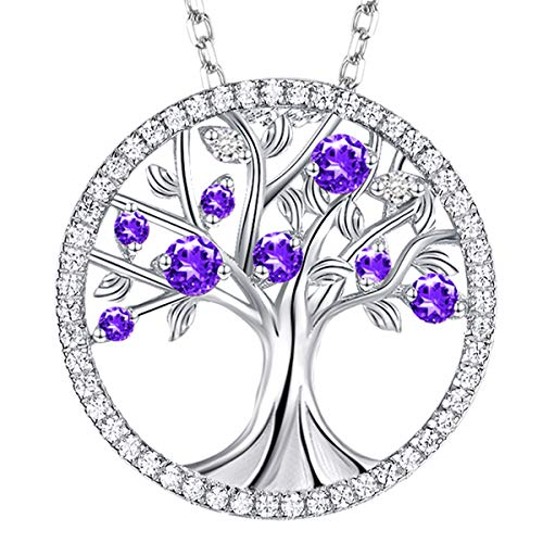 Natural Purple Amethyst Necklace Gifts for Women Gemstone Sterling Silver Jewelry Tree of Life Pendants Anniversary Birthday Gifts for Her Wife Grandma Girlfriend Daughter Family Friend 20