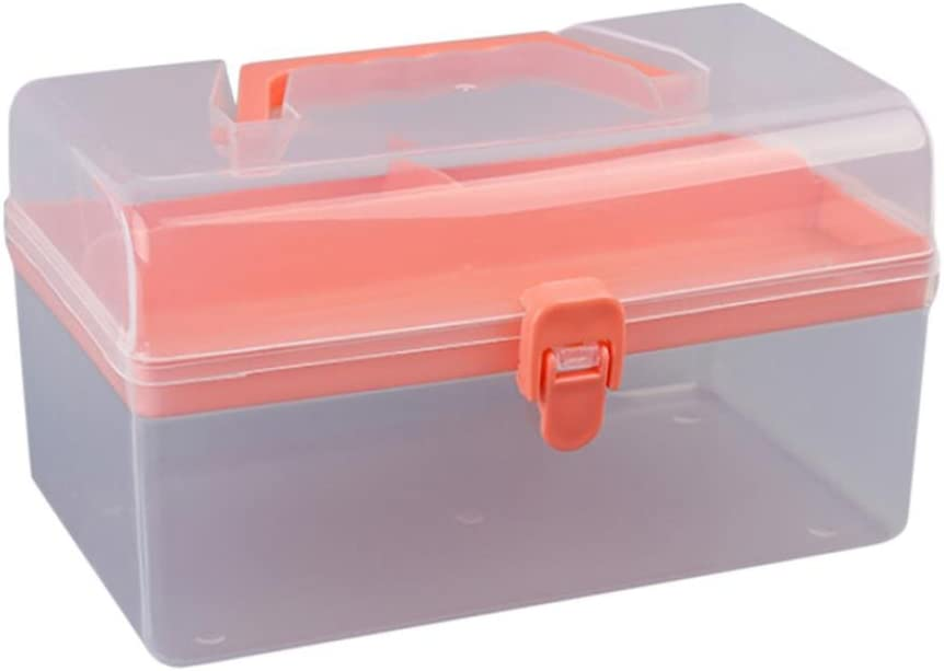 Utoolmart ABS Plastic Organizer Box Red with Dividers 3 Layers Removable Multipurpose Portable Handled Organizer Storage Container Box Removable Tray 1pcs