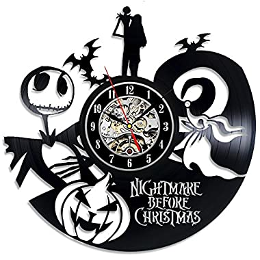 The Nightmare Before Christmas Love Story Wall Clock - Decorate your home with Modern Large Jack and Sally Disney Art - Best gift for Him and Her - Win a prize for feedback