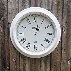 The White Analog Wall Clock, Paris, 1863, Vintage Style, Rustic White, Glass, Distressed MDF Wood Beveled Frame, Roman Numerals, 15 3/8, 1 AA Battery (Not Included), By Whole House Worlds
