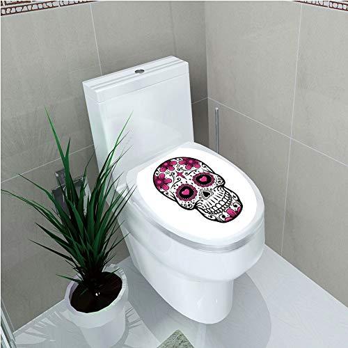- Toilet Cover Sticker,Sugar Skull Decor,Flowers Hearts Swirls Cruciform Gothic Cultural Celebration Day Decorative,Hot Pink Black White,Custom Sticker,W11.8