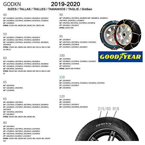 Goodyear GODKN090 Cadenas Nieve Met/álicas Talla 90 Set de 2
