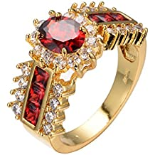 2018 New Arrival Red Jewelry Red Ruby Rings for Women Engagement Band 10KT Yellow Gold Filled Crystal Wedding Ring