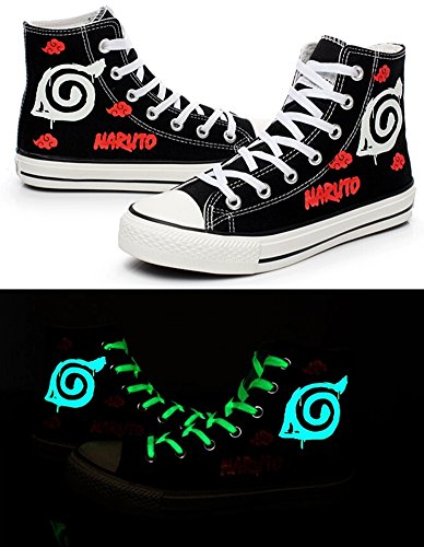 Naruto Anime Naruto Logo Cosplay Shoes Canvas Shoes Sneakers Luminous by Telacos