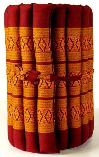 Kapok Rollmatte in 190cm x 75cm x 4,5cm der Marke Asia Wohnstudio; Liegematte bzw. Yogamatte, Thaikissen, Thaimatte als asiatische Rollmatratze (rot / gelb)