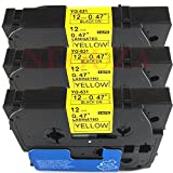 12Mm Label Printer - 3PK Black on Yellow Label Tape Compatible for Brother TZ-631 TZe-631 12mm P-Touch 26.2ft by P-Brother