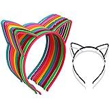 12Pcs Cat Ear Headbands Girl's Plastic...