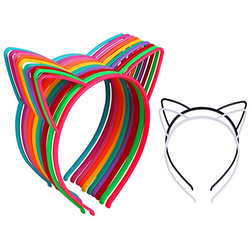 12Pcs Cat Ear Headbands Girl's Plastic Headbands Cat Bow Hairbands for Women and Girls, Costume Favors Accessories - Black White Costumes Themed Party