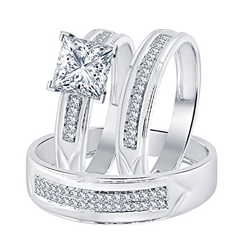 Dabangjewels Princess Cut White Diamond 14k White Gold Over 925 Sterling Silver Wedding Trio Ring Set for Him & Her