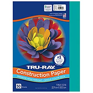 """Tru-Ray Heavyweight Construction Paper, Turquoise, 9"""" x 12"""", 50 Sheets"""