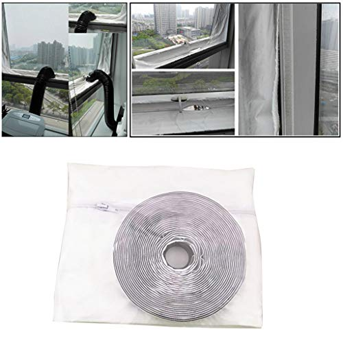 Sun·Light 2Pcs Mobile Air Conditioner Soft Cloth Sealing Baffles with Adhesive Strip Window Sealing for Mobile Air Conditioners and Exhaust Air Dryers