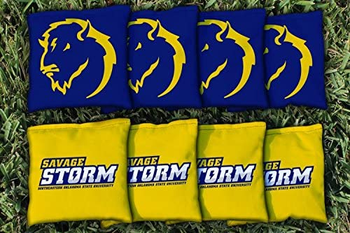 Southeasternオクラホマ状態Savage Storm交換Cornhole Bag Set ( Corn Filled )