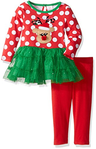 Youngland Green - Youngland Baby Girls' Reindeer Tutu Dress and Knit Legging, Red/Green, 24 Months