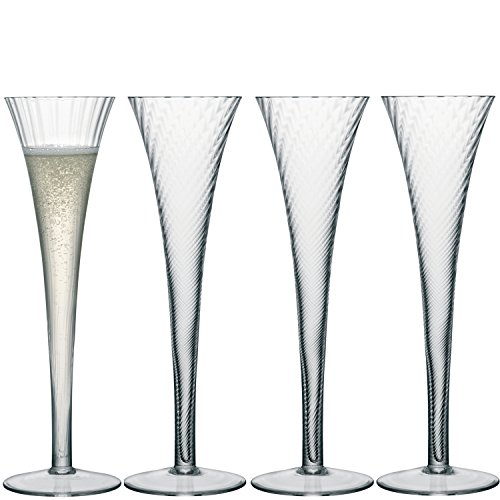 LSA International Optic Aurelia Champagne Flute (4 Pack), 6.8 fl. oz., Clear (Lsa Champagne Flute)