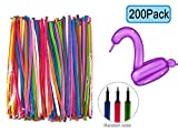 Keklle 200 PCS Latex Twisting Balloons 260Q Magic Balloons Assorted Color Long Balloons For Animal Shape Party, Birthdays, Clowns, Weddings Decorations (With 1PCS Pump)