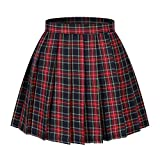 Beautifulfashionlife Girl's A-line Kilt Plaid Pleated Skirts (XS,Wine Red Mixe Green Yellow)