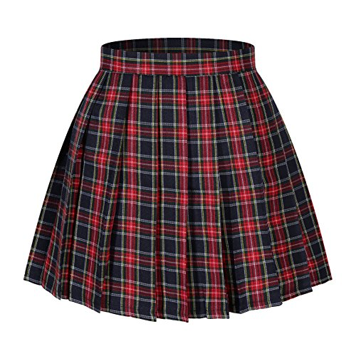 Women`s School Uniform High Waist Flat Pleated Skirts(XL,Wine Red Mixed Green Yellow) for $<!--$21.99-->