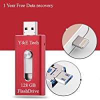 128 GB New USB i-Flash Drive Device Y&E Tech OTG Memory Stick For iPhone iPod IOS Android (Red)