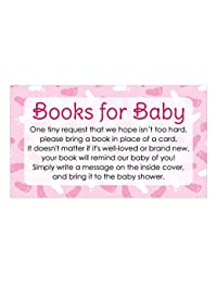 Books for Baby Shower Request Cards - Pink Girl Theme (Set of 20) BOBEBE Online Baby Store From New York to Miami and Los Angeles