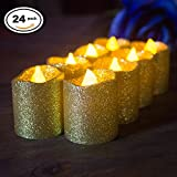 Shiny Gold Glitter LED Votive Candles Flameless Tealight Warm White Flickering Battery Powered Light - Wedding Outdoor Bar Restaurant Party Home Birthday Decor 24 Pack
