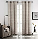 Set of (2) Taupe Sheer Grommet Window Curtain Panels: Stripe Design, 76″ W x 84″ (Taupe) For Sale