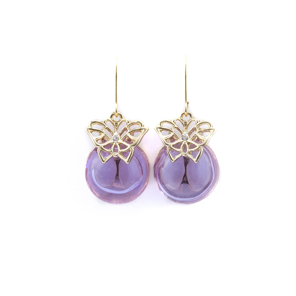 Purple Aroma Earrings, Essential Oil Diffuser Earring Built in Hollow Glass Bead for Teens Girls Women