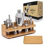 Savourio Bartender Kit Cocktail Shaker Bar Set - Complete 15-Piece Premium Quality Stainless Steel Utensils - Sleek & Elegant Design - Practical Wood Stand Included, martini, monogram